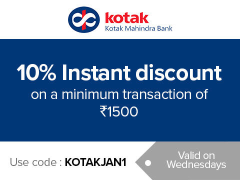 Get 10% instant discount on a minimum purchase of Rs.1500