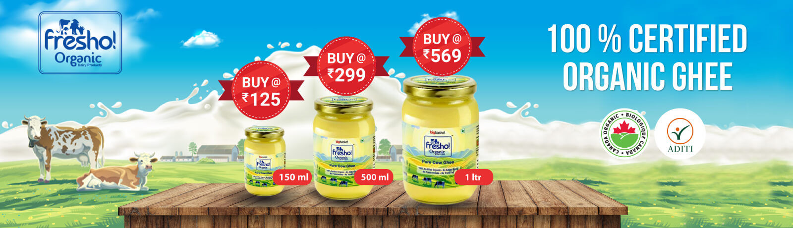 100% CERTIFIED ORGANIC GHEE @569 FOR 1 Ltr