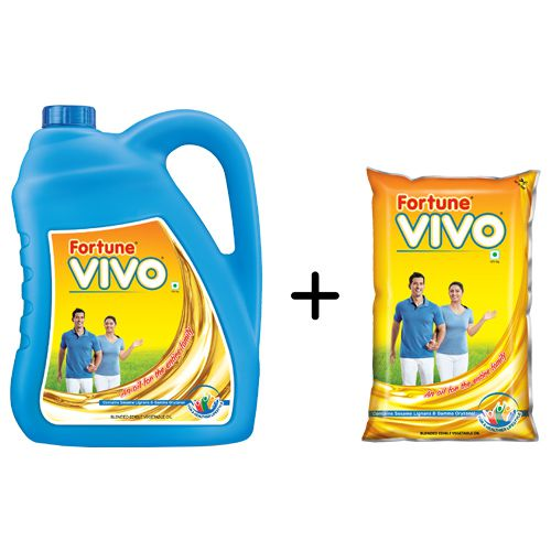 Fortune  Buy Vivo Oil & Get 1 ltr Oil Pouch Free, 5 ltr