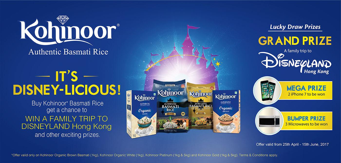kohinoor Offer - Win Family trip to Disneyland Hongkong, Smartphones and more