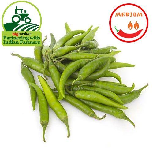 Fresho Chilli- Green Long, Medium, 100 g