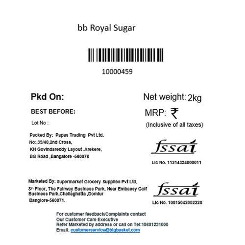 bb Royal Refined Sugar (Sulphurless), 2 kg