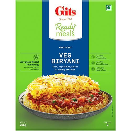 Gits Ready Meals - Veg. Biryani, 265 gm Carton