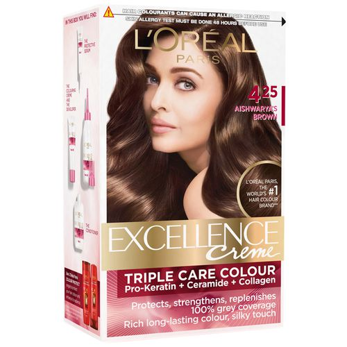 Loreal Paris Excellence Creme Hair Colour - 425 Aishwaryas Brown, 72 ml +  100 gm