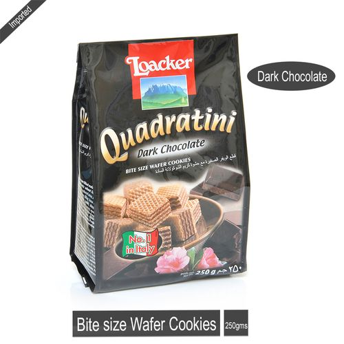 Loacker Bite Size Wafer Cookies - Quadratini Dark Chocolate, 250 gm Pouch