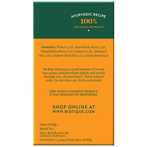 BIOTIQUE Bio Almond & Cashew - Fresh Replenishing Serum For Color Treated & Permed Hair, 35 ml