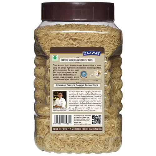 Daawat  Basmati Rice - Brown (Quick Cooking), 1 kg Jar
