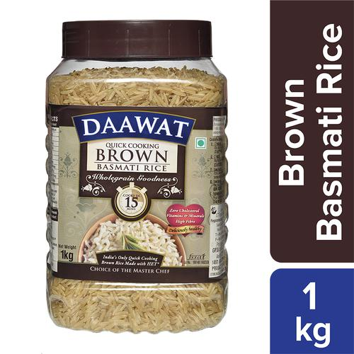 Daawat  Basmati Rice - Brown (Quick Cooking), 1 kg Jar
