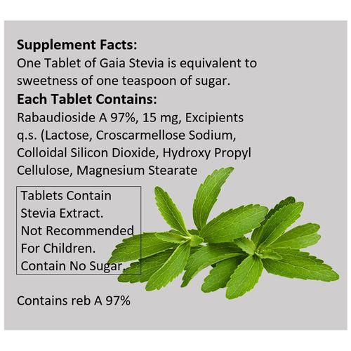 Gaia Tablets - Stevia, Sugar Substitute, 100 g (100 Bags x 1 g each)
