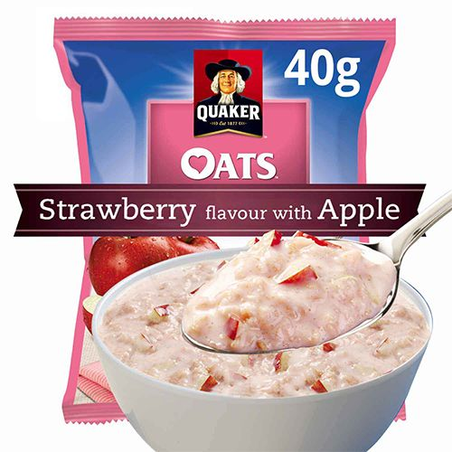 Quaker Oats - Strawberry Flavour with Apple, 40 gm Pouch