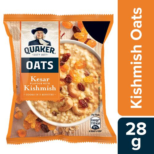 Quaker Quaker Oats- Kesar Flavour with Kishmish, 28 g