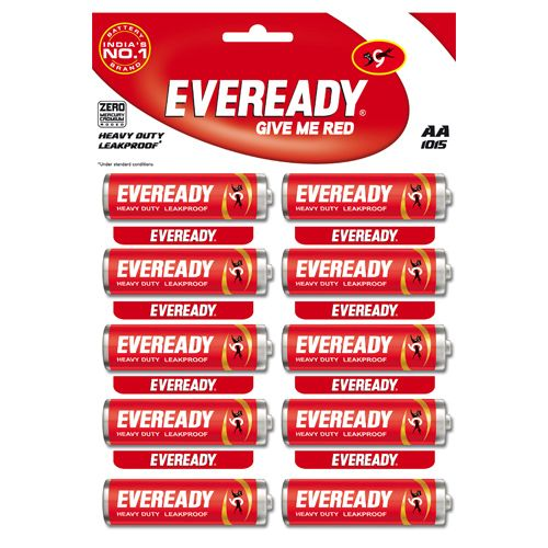 Eveready Carbon Zinc Battery Red HD AA 1015, 10 pcs