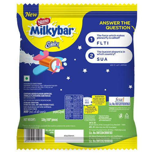 Nestle  Chocolate - Milky Bar Eclairs, 320 g Pouch