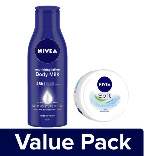 Nivea Nourishing Body Milk - Almond Oil 200ml + Soft Cream With Moisturiser 50ml, Combo 2 Items