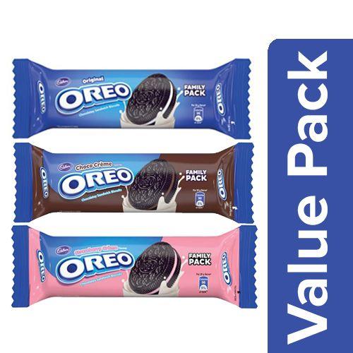 Oreo Creme Biscuits - Vanilla 120G + Choco 120G + Strawberry 120G, Combo 3 Items