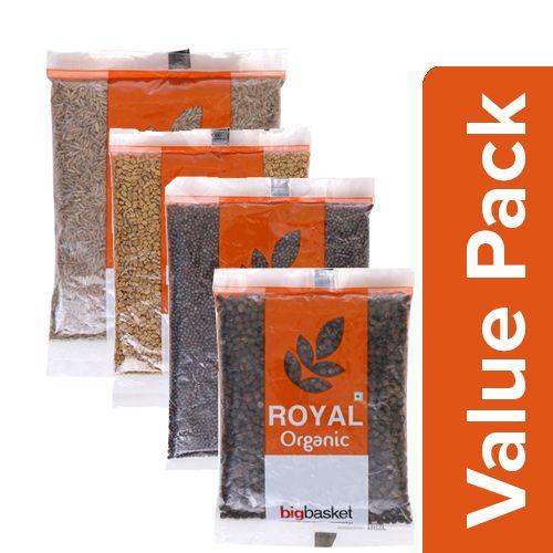bb Royal Organic - Cumin/Jeera 100g + Methi 100g + Mustard/Rai 100g + Black Pepper 100g, Combo 4 Items