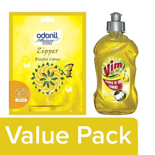 bb Combo Odonil Bathroom Air Freshener Blissful Citrus 10g + Vim Dishwash Gel Lemon 500ml, Combo 2 Items
