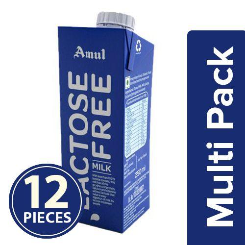 Amul Lactose Free Milk, 12x250 ml Multipack