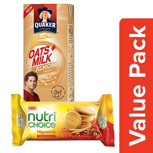 bb Combo Britannia Nutri Choice - Hi Fibre Digestive 100G + Quaker Oats + Milk 180ml, Combo 2 Items