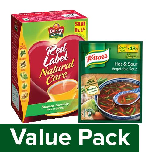 bb Combo Red Label Tea - Natural Care 500 gm + Knorr Chinese Hot & Sour Veg Soup 43 gm, Combo 2 Items