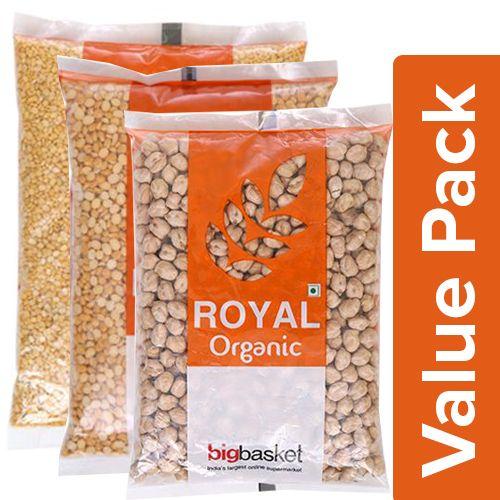 BB Royal Organic - Moong Dal 500 gm + Kabuli Chana 500 gm + Chana Dal 500 gm, Combo 3 Items