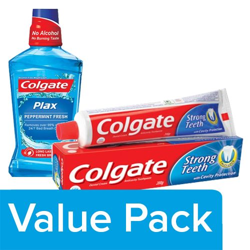 Colgate Toothpaste - Strong Teeth 200G + Mouthwash - Plax Pepper Mint, Imported 250ml, Combo 2 Items