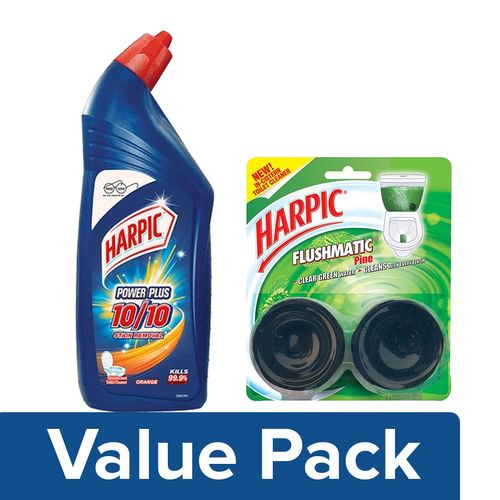 Harpic Toilet Cleaner - Orange 1 ltr +  Toilet Cleaner - Flushmatic, Pine 100 gm, Combo 2 Item
