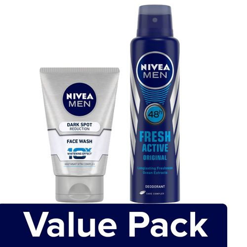 Nivea Face Wash - Dark Spot Reduction 100ml + Deodorant Fresh Active (for Men) 150ml, Combo 2 Items