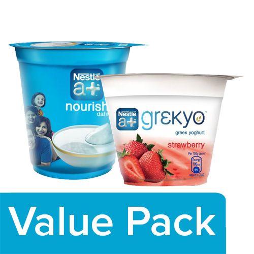 Nestle A+ Dahi 400 gm Cup + Grekyo Greek Yoghurt - Strawberry 100 gm, Combo 2 Items