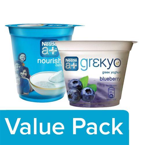 Nestle A+ Dahi 400 gm Cup + Grekyo Greek Yoghurt - Blueberry 100 gm, Combo 2 Items