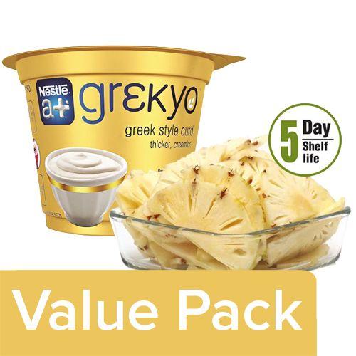bb Combo Nestle A+ Grekyo Yogurt Greek Style Curd 300gm + Fresho Pineapple Slices 350gm, Combo 2 Items