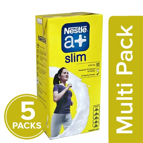 Nestle A+ Slim Milk - Low Fat Carton, 5x1 L Multipack