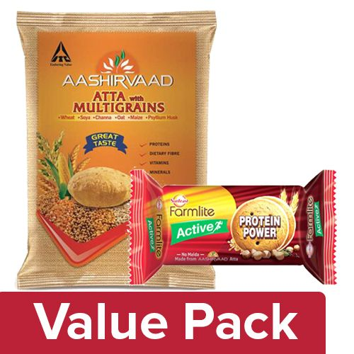 bb Combo Aashirvaad Atta- Multigrains 5kg + Sunfeast Farmlite Biscuit Protein Power100gm, Combo 2 Items