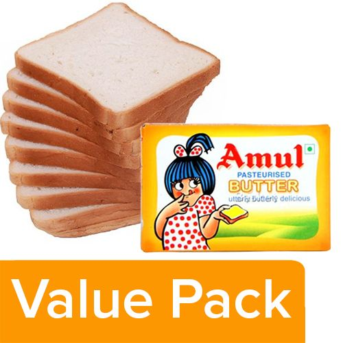 bb Combo Fresho Sandwich Bread White, Chemical Free 400gm + Amul Pasteurised Butter 100gm, Combo 2 Items