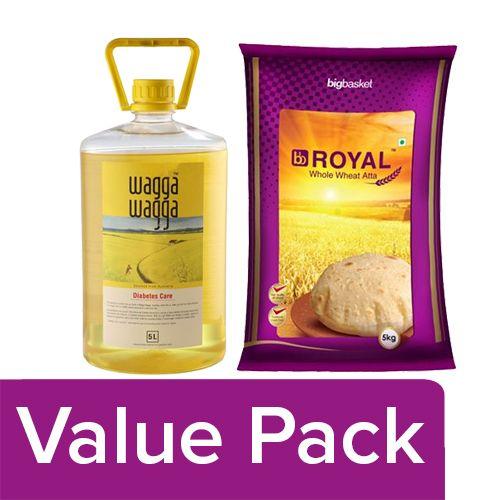 bb Combo Wagga Wagga Diabetes Care Oil 5 ltr + BB Royal Whole Wheat Atta 5 kg, Combo 2 Items