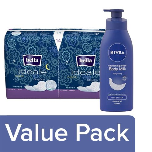 bb Combo Bella Ideale Ultra Night 14 pcs + Nivea Nourishing Body Lotion Body Milk 400 ml, Combo 2 Items
