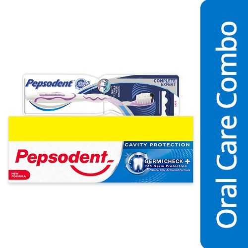 Pepsodent Toothpaste Cavity Protection Germi Check 150G Pack of 2 + Toothbrush Soft 1pc, Combo 2 Items