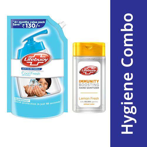 Lifebuoy Hand Wash - Cool Fresh Menthol 750 ml + Hand Sanitizer - Lemon Fresh 50 ml, Combo 2 Items