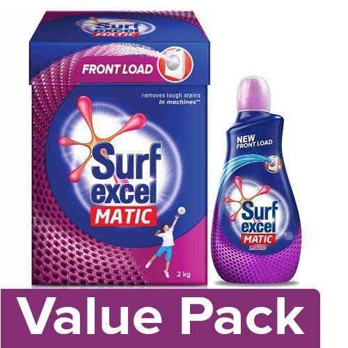 Surf Excel Matic Front Load Detergent Powder 2 kg + Liquid Matic, Front Load 500 ml, Combo 2 Item