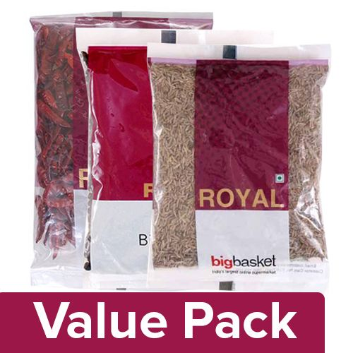 bb Royal Jeera - Whole 100 gm + Red Chilli with Stem 100 gm + Black Pepper 200 gm, Combo 3 Item