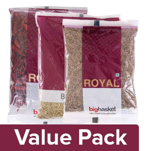 bb Royal Red Chilli with Stem 500 gm + Coriander Seeds 500 gm + Cumin - Whole 100 gm, Combo 3 Item
