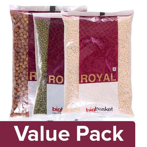 bb Royal Moong - Green, Whole 500 gm + Urad Dal - Split 500 gm + Channa Brown 500 gm, Combo 3 Item