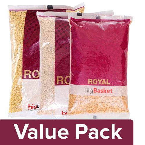 bb Royal Moong Dal 1 kg + Channa Dal 1 kg + Urad Dal - Split 500 gm, Combo 3 Item