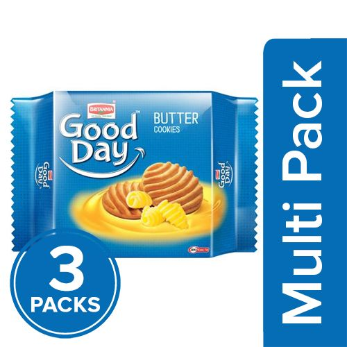 Britannia Good Day Cookies - Rich Butter, 3x150 gm Multipack