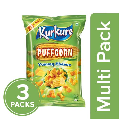Kurkure Namkeen - Puffcorn, Yummy Cheese, 3x60 gm Multipack