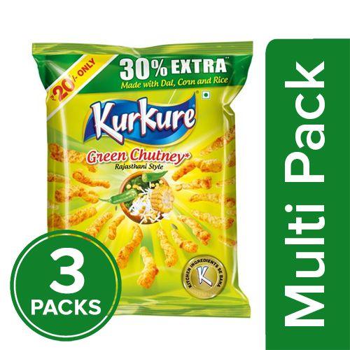 Kurkure Namkeen - Green Chutney Rajasthani Style, 3x106.6 gm Multipack