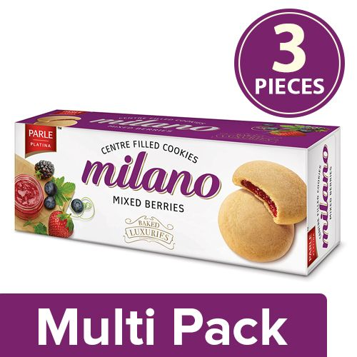 Parle Milano Cookies - Centre Filled With Mixed Berries, 3x75 gm Multipack