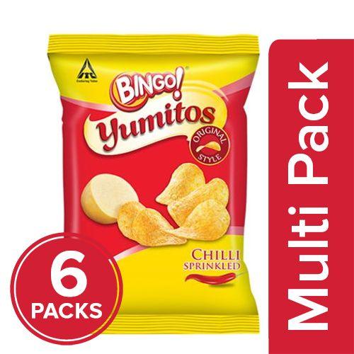 Bingo Yumitos Potato Chips - Original Style, Chilli, 6x60 gm Multipack