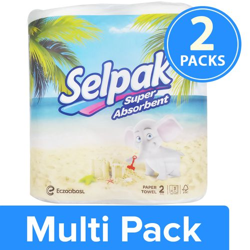 Selpak Kitchen Towel Paper Tissue Roll, 2x100 pcs Multipack