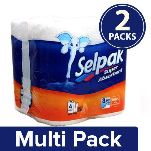 Selpak Kitchen Towel Paper Tissue Roll 3ply, 2x4 rolls Multipack